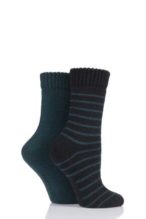 Ladies 2 Pair SockShop Wool Mix Striped and Plain Boot Socks