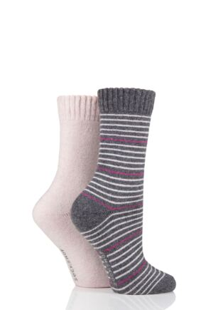 Ladies 2 Pair SOCKSHOP Wool Mix Striped and Plain Boot Socks