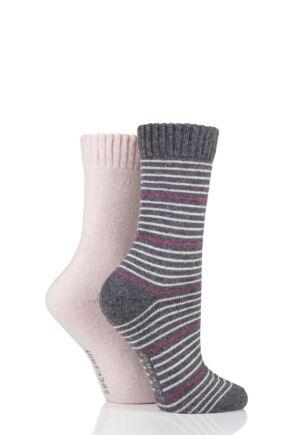 Ladies 2 Pair SOCKSHOP Wool Mix Striped and Plain Boot Socks Frost Pink 4-8 Ladies