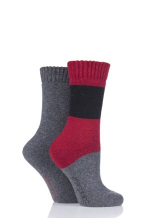 Ladies 2 Pair SOCKSHOP Wool Mix Striped and Plain Boot Socks Alpine Red 4-8 Ladies