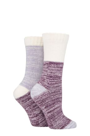 Ladies 2 Pair SOCKSHOP Velvet Soft Boot Socks