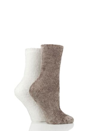 Ladies 2 Pair SOCKSHOP Chenille Boot Socks