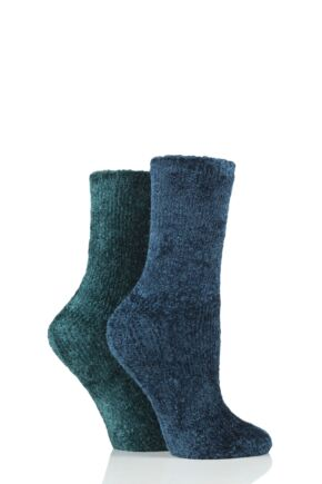 Ladies 2 Pair SOCKSHOP Chenille Boot Socks Sapphire / Emerald 4-8 Ladies