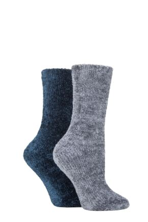 Ladies 2 Pair SOCKSHOP Chenille Boot Socks