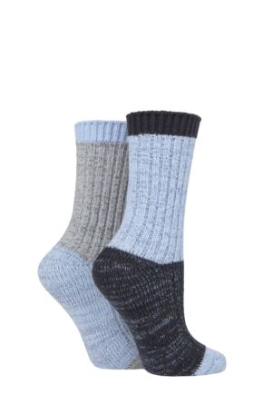 Ladies 2 Pair SOCKSHOP Velvet Soft Chunky Rib Boot Socks
