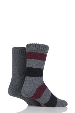 Mens 2 Pair SockShop Wool Mix Boot Socks