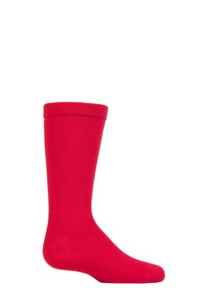 Boys and Girls 1 Pair SOCKSHOP Plain Bamboo Socks with Comfort Cuff and Smooth Toe Seams Red 9-12