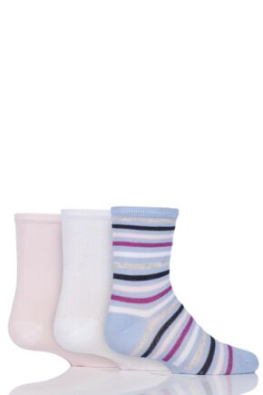Babies and Kids 3 Pair SockShop Plain and Stripe Bamboo Socks with Smooth Toe Seams Pink Stripe B