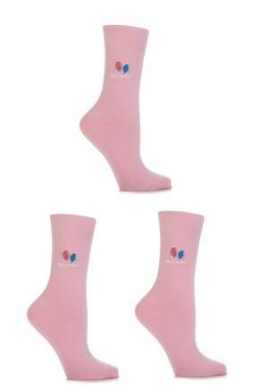 Ladies 3 Pair SOCKSHOP Embroidered Happy Birthday Cotton Socks