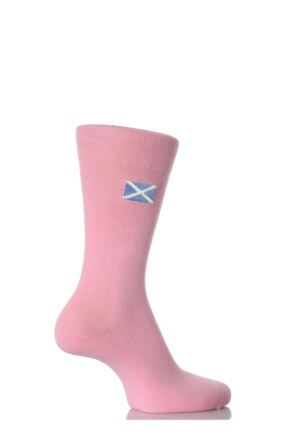 Ladies 1 Pair SockShop Individual Nations Pink Embroidered Socks - 3 To Choose From St Andrew's