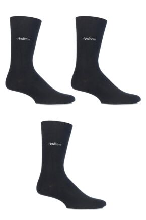 Mens 3 Pair SockShop Embroidered Name Cotton Socks