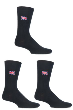 Mens 3 Pair SockShop Embroidered Symbols Cotton Socks