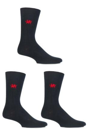 Mens 3 Pair SockShop Embroidered Symbols Cotton Socks