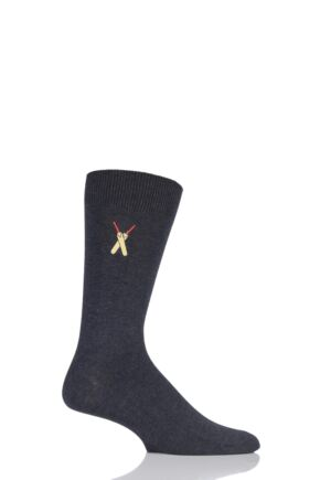 Mens 1 Pair SockShop Embroidered Sports Motif Cotton Modal Socks
