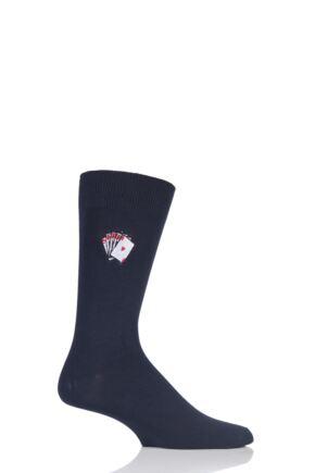 Mens 1 Pair SOCKSHOP Embroidered Sports Motif Cotton Modal Socks