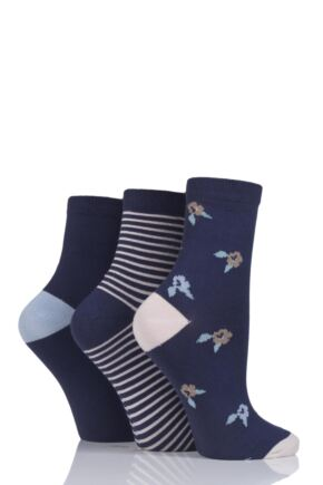 Ladies 3 Pair SOCKSHOP Velvet Soft Floral Stripe and Plain Socks