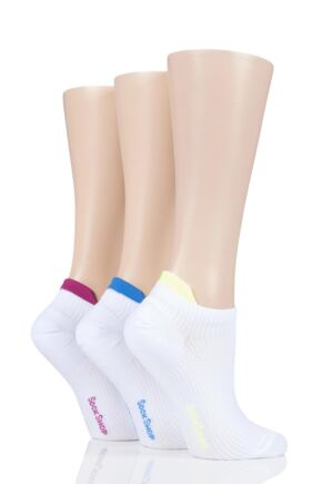 Ladies 3 Pair SOCKSHOP Poly Sports No Show Socks