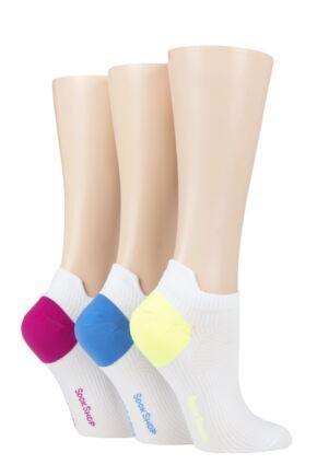 Ladies 3 Pair SOCKSHOP Poly Sports No Show Socks White 4-8 Ladies