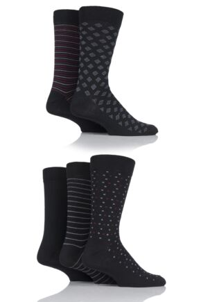 Mens 5 Pair SOCKSHOP Patterned Cotton Suit Socks