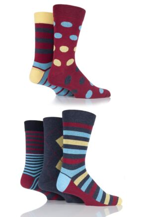 Mens 5 Pair SockShop Outstanding Value Mixed Patterned Cotton Socks Red 7-11