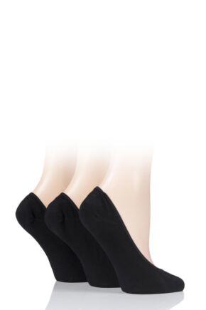 Ladies 3 Pair SOCKSHOP Plain and Patterned Bamboo Shoe Liners Black 4-8 Ladies