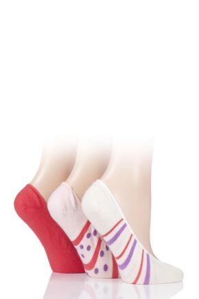 Ladies 3 Pair SOCKSHOP Plain and Patterned Bamboo Shoe Liners