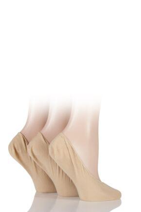 Ladies 3 Pair SOCKSHOP Cotton Rich Shoeliners