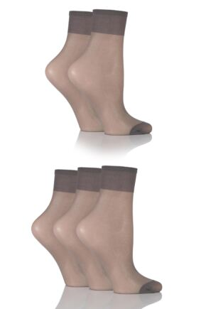 Ladies 5 Pair SockShop 15 Denier Ankle Highs Mid Grey