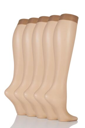 Ladies 5 Pair SOCKSHOP 15 Denier Knee Highs