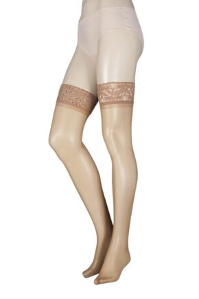 27967eae56085 Ladies 1 Pair SockShop 10 Denier Classic Nylon Lace Top Hold Ups