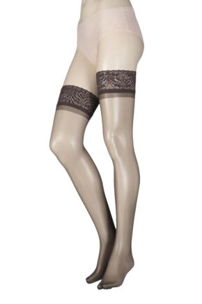 Ladies 1 Pair SockShop 10 Denier Classic Nylon Lace Top Hold Ups