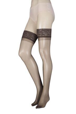 Ladies 1 Pair SockShop 10 Denier Classic Nylon Lace Top Hold Ups