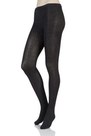 Ladies 1 Pair SOCKSHOP Plain Bamboo Tights with Smooth Toe Seams Charcoal Twist Small / Medium