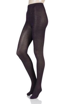Ladies 1 Pair SockShop Plain Bamboo Tights Purple Raven Small / Medium