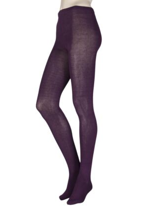 Ladies 1 Pair SockShop Plain Bamboo Tights with Smooth Toe Seams