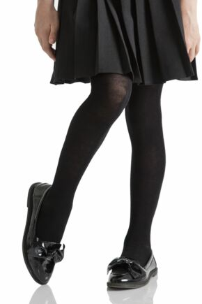Girls 1 Pair SOCKSHOP Plain Bamboo Tights with Smooth Toe Seams Black 11 to 12 years