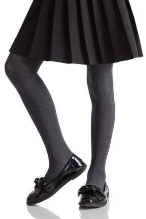 Girls 1 Pair SOCKSHOP Plain Bamboo Tights with Smooth Toe Seams Grey 13 to 14 years