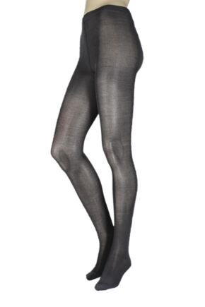 Girls 1 Pair SockShop Plain Bamboo Tights Grey 13 to 14 years