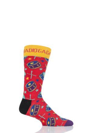 Happy Socks 1 Pair Queen 'Radio Ga Ga' Combed Cotton Socks
