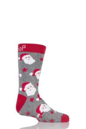 Kids 1 Pair SockShop Christmas Santa Slipper Socks Grey