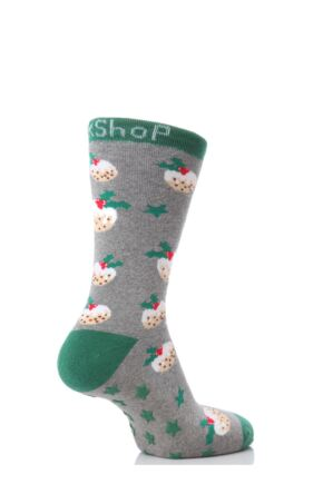 Kids 1 Pair SockShop Christmas Pudding Slipper Socks Grey