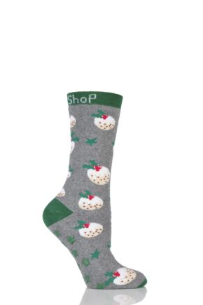 Ladies 1 Pair SockShop Christmas Pudding Slipper Socks Grey