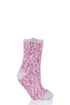 Ladies 1 Pair SOCKSHOP Wild Feet Fleece Lined Slipper Socks Lilac 4-8 Ladies