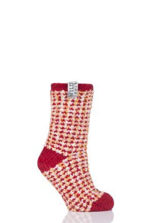 Ladies 1 Pair SOCKSHOP Wild Feet Fleece Lined Slipper Socks Red 4-8 Ladies