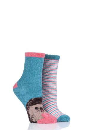 Ladies 2 Pair SockShop Wild Feet Hedgehog Fluffy Cosy Socks