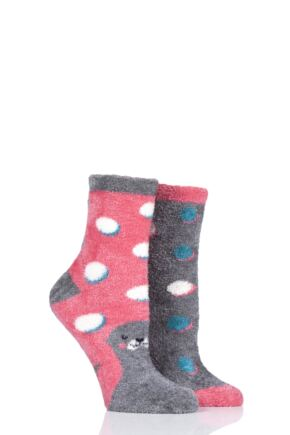 Ladies 2 Pair SOCKSHOP Wild Feet Seal Fluffy Cosy Socks