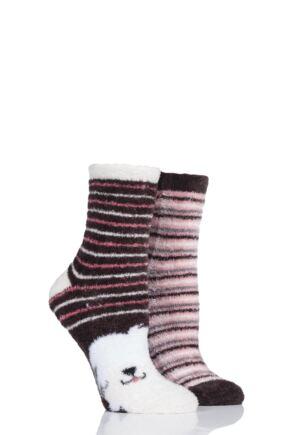Ladies 2 Pair SOCKSHOP Wild Feet Sheepdog Fluffy Cosy Socks