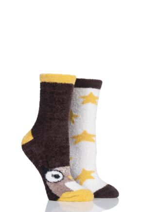 Ladies 2 Pair SockShop Wild Feet Owl Fluffy Cosy Socks