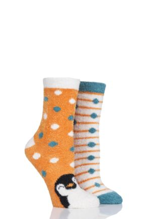 Ladies 2 Pair SockShop Wild Feet Penguin Fluffy Cosy Socks