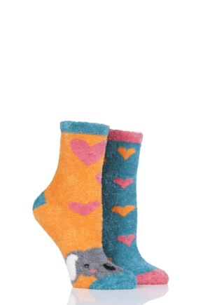 Ladies 2 Pair SockShop Wild Feet Koala Fluffy Cosy Socks